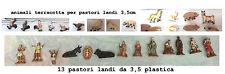 13 pastori landi 3,5 cm plastica e 13 animali terracotta presepe crib shepherds