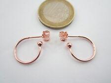 1 paio di orecchini perno semi tondo in argento 925 placcato oro rosè 19x14,5 mm