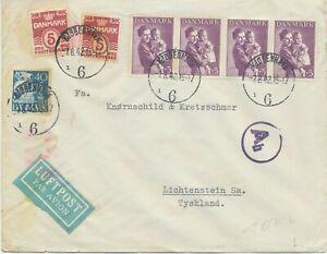 DÄNEMARK 1942 Kinderhilfe 10 + 5 Ö (4 x) mit Zusatzfrankatur Luftpost-Zensur-Bf