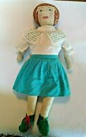 """Antique Primative Cloth Doll, Painted Face, 21"""" Tall w/ Skirt, Blouse & Shoes"""