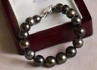 Charming 10-11mm AAA++ Tahitian Black Pearl Bracelet 925s 7.5 Inch