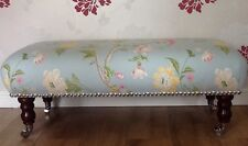 Footstool Stool In Laura Ashley Summer Palace Duck Egg Fabric