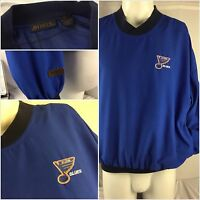 St. Louis Blues NHL Pullover M Antigua Blue Sewn On Poly Wind Shirt YGI 92pp