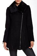 Dawn Levy Lillie Rabbit Fur Leather Trim Wool Coat Asymmetric Zip Moto Jacket *L
