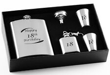 18th Birthday Stainless Steel 5 Piece Hip Flask Gift Set - Engravable Keepsake