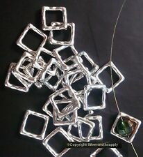 25 Zinc bead frame charms finding links earrings bracelets white gold plt fpb204