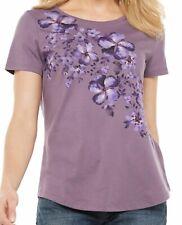 New SONOMA Women's Graphic Tee Top Shirt XL - Plum Floral - Purple