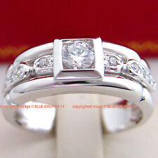 Genuine Solid 9ct White Gold Engagement Wedding Heavy Rings Simulated Diamonds