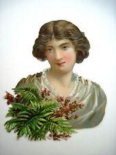 Gorgeous Vintage Die Cut of Lovely Woman w/ Brown Hair & Green Eyes  *