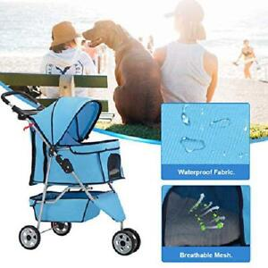 3 Wheels Folding Pet Stroller Dog Cat Jogging Carrier, Portable Travel Safe Cage