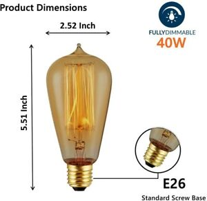 4-Pack Edison Light Bulb 40W - Vintage Squirrel Cage Filament Amber Glass