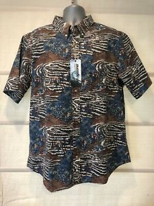 Reyn Spooner Espresso Sumatra Slde Tiger Print Tailored Fit Hawaiian Shirt~XXL