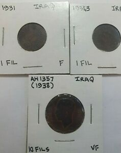 1931 & 1933 fil & 1938 10 fils Iraq Coin(s)