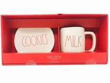 "Rae Dunn 6"" Cookies Plate & Milk Mug Set Cup Christmas Ceramic Large Red Letter"