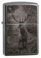 Zippo Photo Image Deer Design Black Ice Windproof Pocket Lighter, 49059