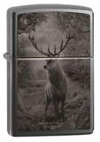 Zippo Photo Image Deer Design Black Ice Windproof Pocket Lighter, 49059
