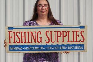 """Vintage Fishing Supplies Bait Ice Beer Boat Rental Lure Gas Oil 32"""" Metal Sign"""