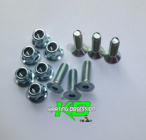 Go Kart 6 Qty 6mm x 20mm C/Sunk Bolts & Flange Nyloc Nuts  - NyLock Bolts Parts