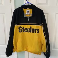 NFL Pittsburgh Steelers Football Men's 1/4 Zip Polyester Jacket Pullover Size 2X
