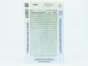 HO Scale Microscale #90003 Railroad Roman Letters & Numbers (Gold) Decal Sheet
