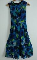 HOBBS Women's Dress Navy Blue Green Smart Work Office Size 10 Fit n Flare