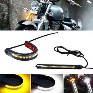 2X LED Universal Amber Motorcycle Fork Turn Signal Indicator Blinker Light Strip