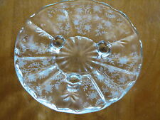 GLASSWARE SALE Fostoria CHINTZ Floral Etch Footed Tid Bit Tray -Clean and Clear!