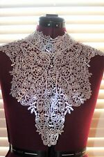White Metallic Silver Venise front bodice stand up collar lace applique a0