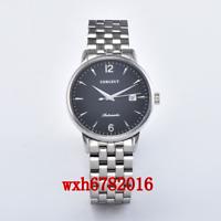 40mm Corgeut Black MIYOTA Automatic mens Watch Sapphire crystal  Steel bracelet