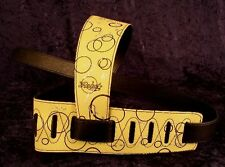 REBEL GUITAR STRAP BUBBLES - YELLOW WITH BLACK RINGS for GUITAR or BASS