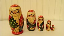 "Wood Hand Carved Russian Christmas Santa Nesting Dolls Matryoshka 5 Pieces, 5""T"