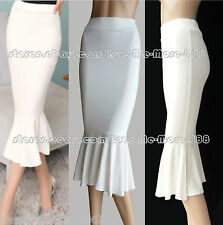 NEW WOMENS Retro Vintage Celebrity Work Slim Bodycon Pencil Midi Skirt Dress 4XL