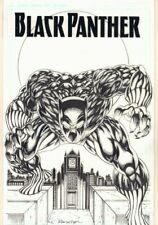 Black Panther on Rooftop with Clock Tower Cover-esque Commission by Ron Wilson
