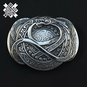 Belt buckle Jormungand, Ouroboros solid 925 Sterling Silver belt buckle
