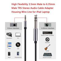 """3.5mm 1/8"""" Male to 6.35mm 1/4"""" Male TRS Stereo Audio Cable AUX Adapter Connector"""