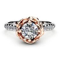 Women Fashion Two Tone 925 Silver Wedding Ring White Sapphire Size 6-10