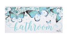 French Country Inspired Wall Art Plaque Butterfly Bathroom Wooden Sign New