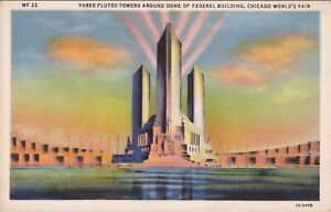 Linen postcard, Three towers, Federal Building, Chicago World's Fair 1933
