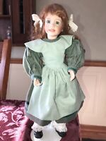 """1993 Wendy Lawton Bisque Porcelain Soft Body Doll Green Glass Eyes 14.5"""" Tall"""