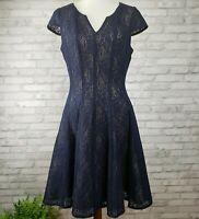 Julia Jordan dress size 10 fit flare pockets navy blue lace illusion overlay
