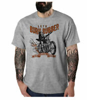 Men's Burn Rubber Harley Chopper 70's Motorcycles Classic Biker Grey T-Shirt