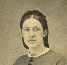 CIVIL WAR ERA CDV. WOMAN IN BELL SLEEVED DRESS. CHELSEA, VT.