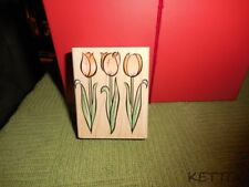 New 2001 HERO ARTS Wood Mounted Rubber Stamp THREE TULIPS TRIO