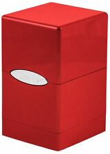 Metallic Fire Red Ultra Pro Satin Tower Deck Box Holds 100 Cards MTG