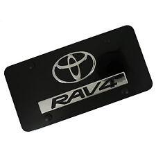 Toyota Logo + RAV4 Name Badge On Black License Plate