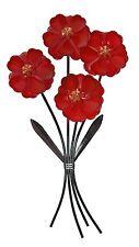 Red Flowers Metal Wall Art Decor 65cm | Bouquet Flower Hanging Garden Sculpture