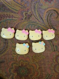6 Hello Kitty Barretts, McDonald's,  2002, 4 With Pink Bows And 2 With Pink And