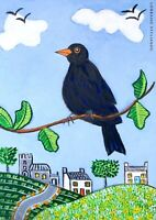 Original Painting Blackbird, In Leaves, Bird Art Naive/folk Church Landscape