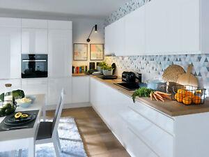 Handleless kitchen units set William, high quality white gloss kitchen