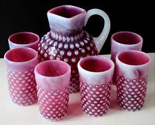 Vtg CZECH Art Glass CRANBERRY OPALESCENT HOBNAIL Water Set Pitcher 6 Tumblers